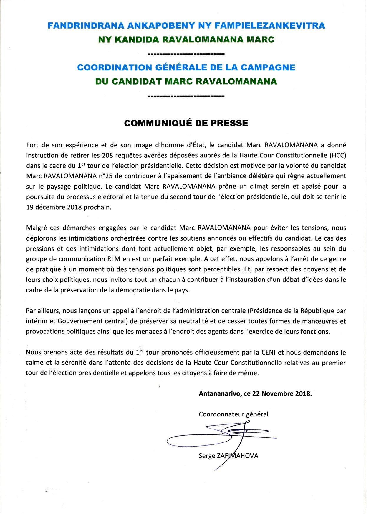 Communiqué - Coordination générale de la campagne du candidat Marc Ravalomamanana
